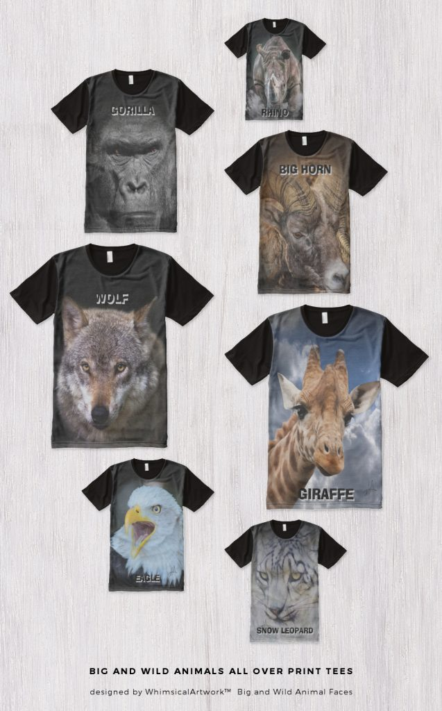 WhimsicalArtwork Big and Bold Wild Animal Shirts
